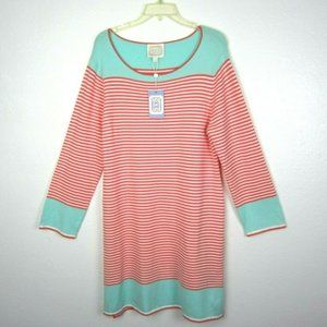 SAIL TO SABLE Knit Dress Striped Coral Green XL 16